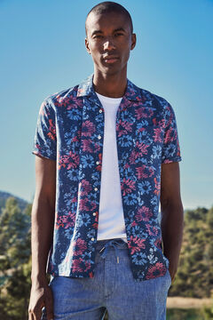Cortefiel Camisa estampada manga corta cuello camp Azul