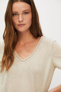 Cortefiel Lace linen-effect T-shirt Stone