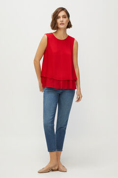 Cortefiel Pleated blouse Redgarnet