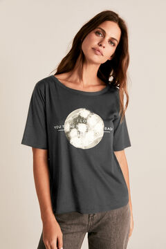Cortefiel Moon boat neck t-shirt Dark gray