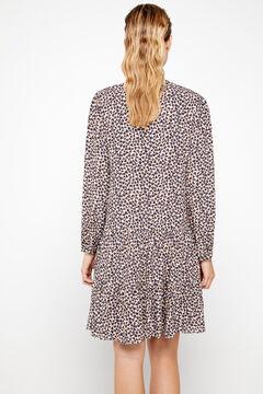 Cortefiel Printed short dress Kaki