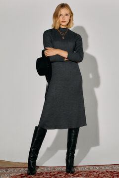 Cortefiel Ribbed jersey-knit dress Grey