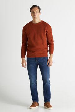 Cortefiel Regular medium wash jersey-knit jeans Blue