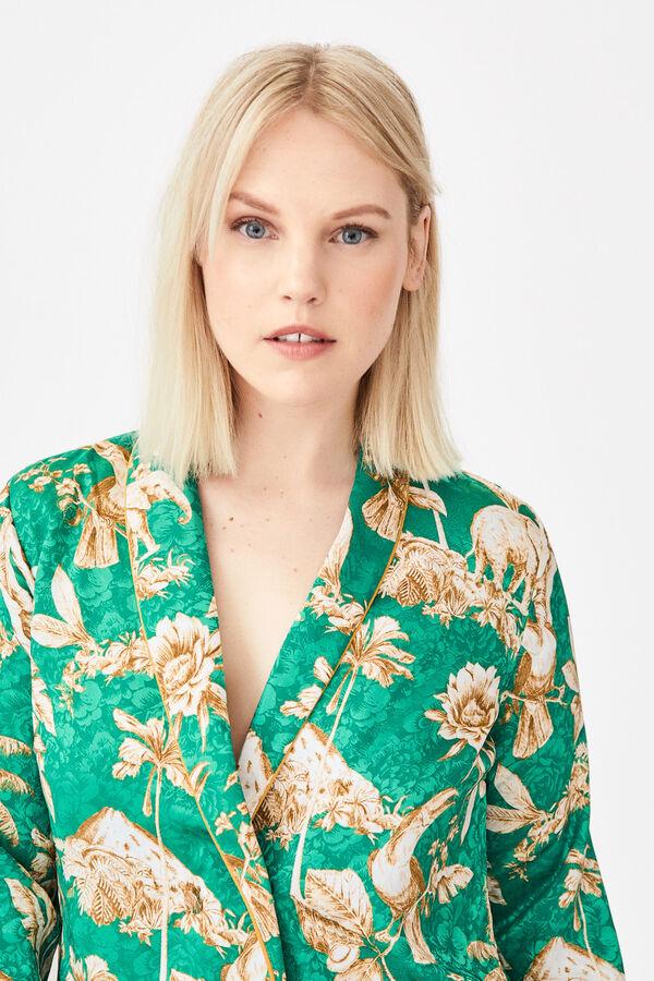 440fe3d57 Cortefiel Kimono blazer estampado en jacquard Verde