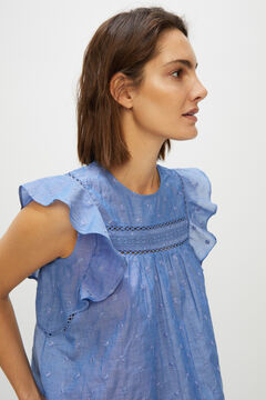Cortefiel Flounced sleeveless top Blue
