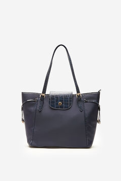 Cortefiel Faux crocodile skin and nylon shopper bag Navy