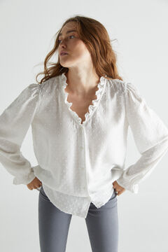 Cortefiel Blusa tejido sostenible Blanco