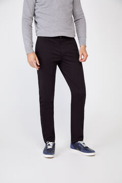 Cortefiel Plain slim fit chinos with elasticated waist  Black