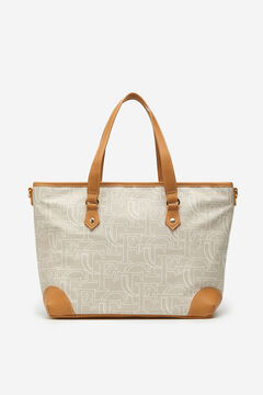 Cortefiel Logo shopper bag Beige
