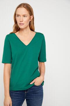 Cortefiel Essential organic cotton V-neck t-shirt Pistachiogreen