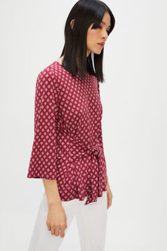 Cortefiel Knot front jersey-knit top Fuchsia