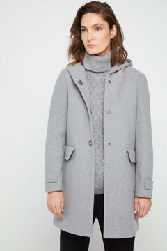 Cortefiel Long straight hooded coat Dark gray