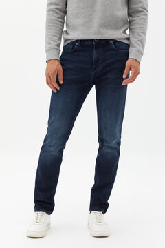 Cortefiel Regular dark wash jersey-knit jeans Royal blue