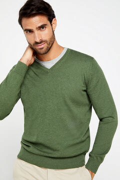 Cortefiel V-neck jumper Green