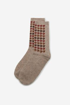 Cortefiel Long logo socks Camel