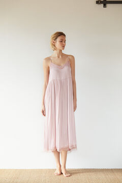 Cortefiel Long satin lingerie dress Pink