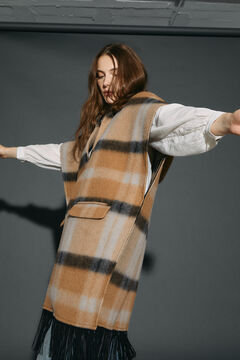 Cortefiel Fringed poncho Natural