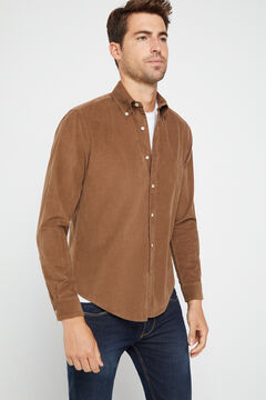Cortefiel Corduroy shirt Brown
