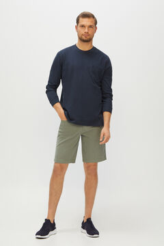Cortefiel Micro print 5-pocket Bermuda shorts Dark gray