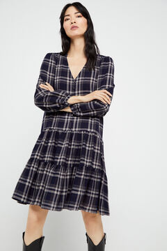 Cortefiel Checked shirt dress Blue
