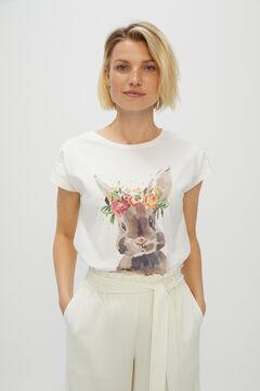 Cortefiel Printed sleeveless t-shirt Ecru