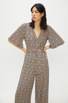 Cortefiel Printed jersey-knit jumpsuit Natural
