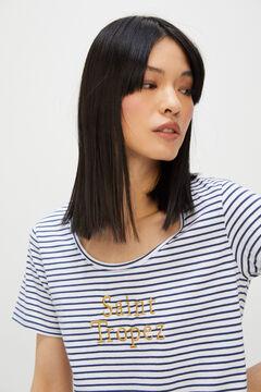 Cortefiel Striped embroidered slogan T-shirt Navy