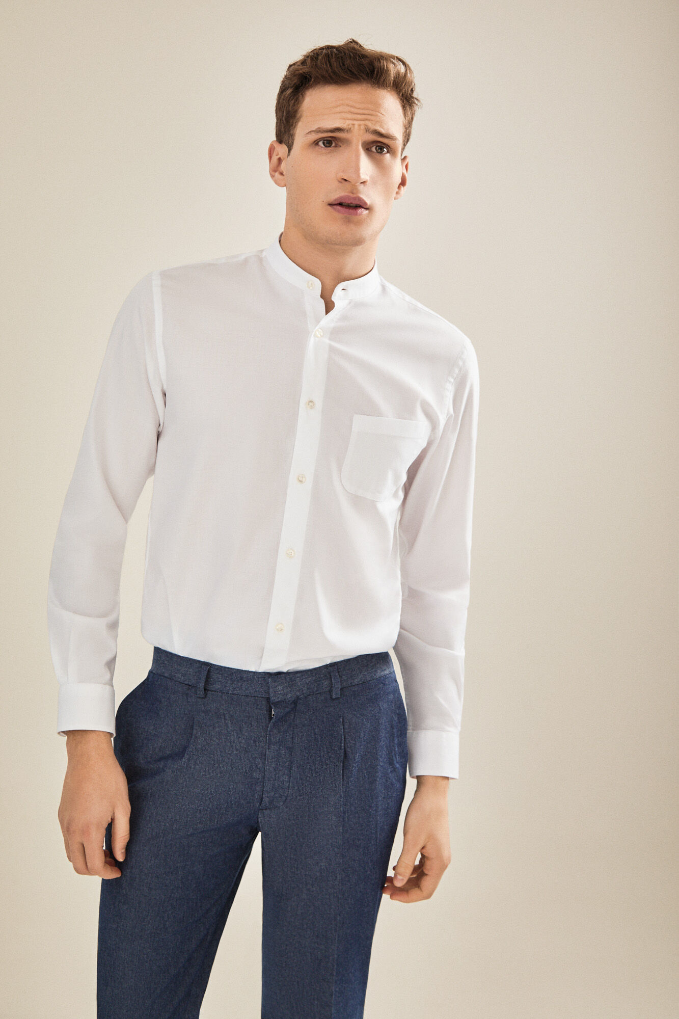 17f54fdb378 Plain Mandarin collar shirt