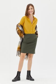 Cortefiel Straight skirt with elasticated waist Dark gray