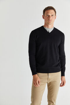 Cortefiel Cotton/cashmere V-neck jumper  Black