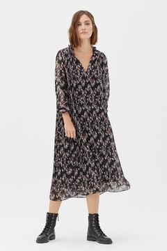 Cortefiel Vestido estampado plisado Negro