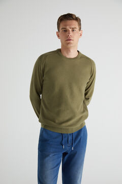 Cortefiel Crew neck jumper with textured front Green