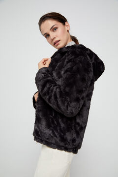 Cortefiel Reversible faux fur jacket Black