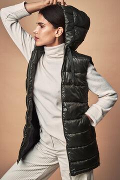 Cortefiel Long hooded vest Black