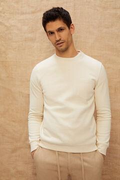 Cortefiel Crew neck sweatshirt Ecru