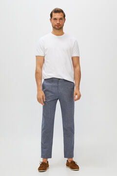 Cortefiel Plain slim fit trousers with elasticated waist  Navy