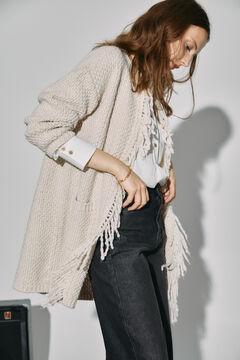 Cortefiel Long jacket with fringes Ecru