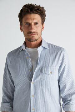 Cortefiel Camisa rayas textura algodón orgánico Azul
