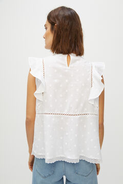 Cortefiel Flounced sleeveless top White
