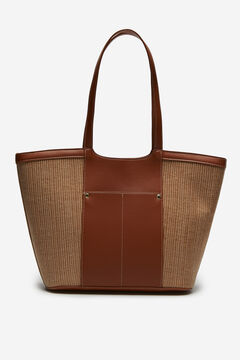 Cortefiel Canvas shopper bag Tobaco