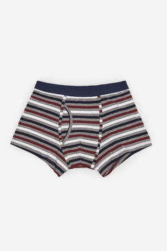 Cortefiel Striped jersey-knit boxers Gray