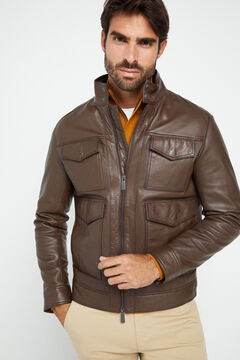 Cortefiel Nappa leather jacket  Dark brown