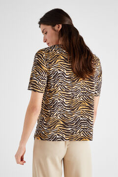 Cortefiel Printed organic cotton t-shirt Natural