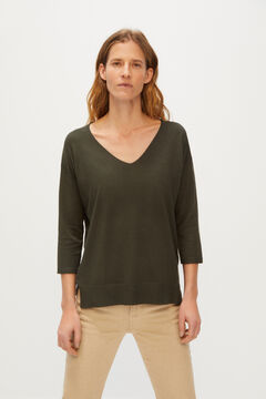Cortefiel V-neck jumper Green