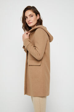Cortefiel Long straight hooded coat Stone