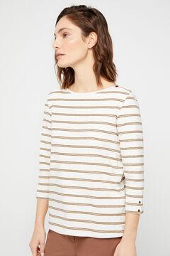 Cortefiel Essential organic cotton boat neck t-shirt Beige