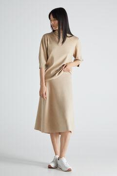 Cortefiel Jersey-knit circle skirt Ecru