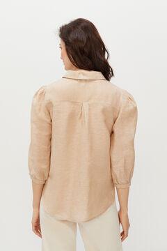 Cortefiel Long-sleeved linen shirt Stone