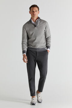 Cortefiel Shirt collar jumper Gray