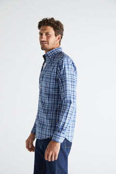 Cortefiel Checked shirt in extra soft, easy care cotton Royal blue